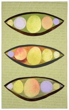 "Eat Your Peas II by Sandy Gregg | art quilt.  The hand written words ""eat your peas please"" appear in the background."