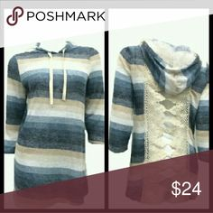 Striped Crochet Detailed Back Striped Crochet Detailed Back Hooded Top Made in the USA 95% Polyester 5% Spandex Tops Sweatshirts & Hoodies