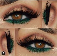 Gorgeous Eyes and a nice Combination of Green and Gold Eyeshadows #greeneyeshadows #goldeyeshadows