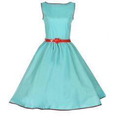 Audrey in turquoise A summery version of our 50's inspired Audrey dress, this turquoise cotton beauty features the prettiest red contrast trim & optional red belt with center heart. Classic silhouette with a fitted bodice, nipped waist, & supremely full skirt. Rear zipper closure, shown with a petticoat, sold separately.