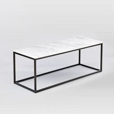 Box Frame Coffee Table - Marble/Antique Bronze | west elm