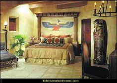 "For an Egyptian themed room, you'd definitely need real ""artifacts"", and paintings to give it the beginnings of an Egyptian look. Description from themerooms.blogspot.ca. I searched for this on bing.com/images"