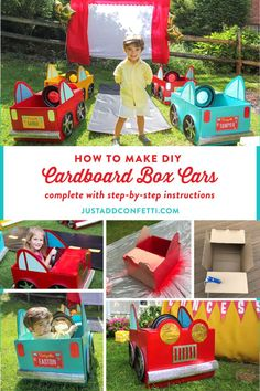 This DIY cardboard box car craft tutorial is perfect for a drive in outdoor movie night or birthday party. Host an adorable Retro Outdoor Drive-In Movie Party with these cute cars! Don't forget to complete your car with an adorable personalized license plate free printable! #movienight #drivein #driveinbirthdayparty #summerparty #summerbirthday #kidsbirthday #cardboardboxcars #DIYboxcars #freeprintable #JustAddConfetti
