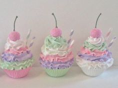 Pastel Fake Cupcakes Photo Props, Birthday Party Decor and Displays, Fairy, Princess, Tea Party Photo Sessions Cupcake Bath Bombs, Cupcake Soap, Cupcake Cakes, Fondant Cakes, Fake Cupcakes, Fake Cake, Pastel Cupcakes, Cupcake Photos, Fake Food