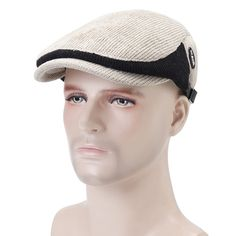 ecf7fff8761 Men Winter Warm Knit Beret Cap Adjustable Buckle Newsboy Cabbie Hat Visor  Flat Cap is hot sale on Newchic Mobile.