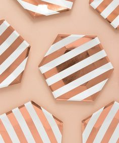 Holiday Rose Gold Stripe Plate (Large)