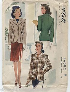 McCALL 4608 Vintage Jacket Collar Variations 1942 Sewing Pattern Sz 16