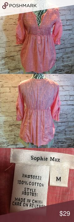 ADORABLE SOPHIE MAX BLOUSE/TOP Super cute and lightweight blouse with convertible sleeves. Gently used. Chambray/ Cotton material color is pink Sophie Max Tops Blouses