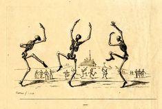 Skeleton Dance, Skeleton Tattoos, Skeleton Art, Arte Dope, Victorian Paintings, Dance Of Death, Etching Prints, Owl Pictures, Danse Macabre
