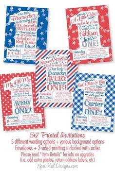 4th of July Birthday Invitations - Little Firecracker First Birthday Invitation, Patriotic Red White Blue 1st Birthday Invitation Boys Girls by SprinkledDesigns.com