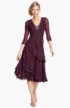 Komarov Embellished Tiered Chiffon Dress available at Mob Dresses, Dressy Dresses, Elegant Dresses, Cute Dresses, Beautiful Dresses, Short Dresses, Fashion Dresses, Chiffon Dresses, Bridesmaid Dresses