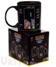 Tetris Heat Change Mug, This twelve-ounce coffee mug changes its appearance when you pour in a hot drink. A near-empty matrix is displayed when cool, but fills in considerably in the presence of heat. $14.99