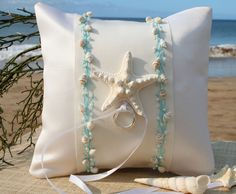 Beach Wedding Ring Pillow-Aqua.
