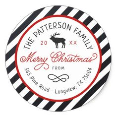 Shop Christmas Reindeer Circle Return Address Label created by rileyandzoe. Modern Christmas, Christmas Themes, Christmas Holidays, Merry Christmas, Xmas, Christmas Return Address Labels, Return Address Stickers, Christmas Stickers, Custom Stickers
