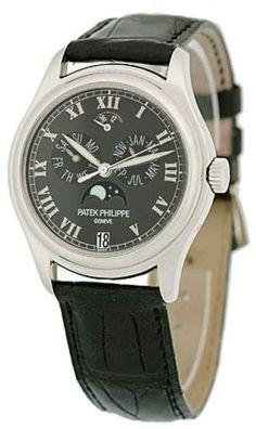 Patek Philippe Annual Calendar 5056-P Platinum & Leather Automatic 37mm Mens Watch