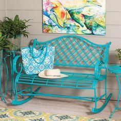 online shopping for Bromelton Indoor/Outdoor Rocking Bench Bungalow Rose from top store. See new offer for Bromelton Indoor/Outdoor Rocking Bench Bungalow Rose Outdoor Spaces, Indoor Outdoor, Outdoor Living, Outdoor Decor, Outdoor Benches, Outdoor Life, Outdoor Ideas, Backyard Ideas, Rocking Bench