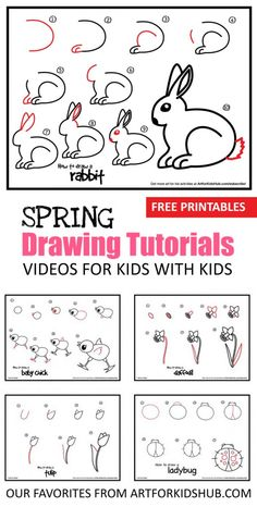 5 Spring Drawing Tutorials For Kids With Kids: Learn to draw bunny rabbits, ladybugs, butterflies, baby chicks and spring flowers. *Love these video tutorials and printables