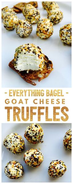 Everything Bagel Goat Cheese Truffles are a unique, easy, and beautiful addition to any cheese platter this holiday season. Each one is like a delicious bite of your favorite bagel! Everything Bagel Goat Cheese Truffles are a unique, easy, and beau Appetizers For Party, Appetizer Recipes, Goat Cheese Appetizers, One Bite Appetizers, Recipes Dinner, Fingers Food, Goat Cheese Recipes, Cheese Snacks, Goat Recipes