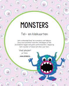 monsters, kinderboekenweek 2017, griezelen, kleikaarten, tellen, kleuters