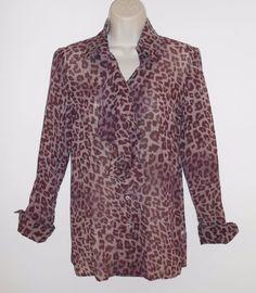Les Copains 40 US 4 Blouse Silk Purple Leopard Italy Shirt  #LesCopains #Blouse