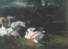 The Athenaeum - Mazeppa Surrounded by Horses (after Horace Vernet) (John Frederick Herring, Sr - )