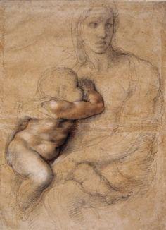 Michelangelo Buonarroti - Madonna and Child, 1525, black chalk, red chalk, white lead, pen and ink. Florence, Casa Buonarroti