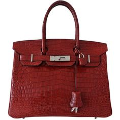 Preowned Authentic Hermes Birkin 30 Handbag Rouge H Crocodile... ($56,287) ❤ liked on Polyvore featuring bags, handbags, red, red purse, crocodile handbags, croc handbags, red handbags and silver hand bag