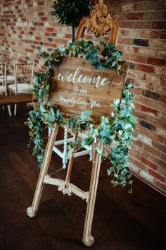 Rustic Woode Wedding Welcome Sign with Foliage Decor | By Jacob Malinski | Wedding Sign | Wooden Sign for Wedding | Wedding Decor | Wedding Signage | Rustic Decor for Wedding | Rustic Wedding Decor | Barn Wedding
