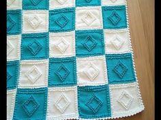 Tunus İşi Bebek Battaniyesi Yapılışı Baklava Örneği - YouTube Bobble Crochet, Crochet Square Blanket, Bobble Stitch, Granny Square Crochet Pattern, Tunisian Crochet, Crochet Blanket Patterns, Baby Blanket Crochet, Crochet Baby, Knitting Videos