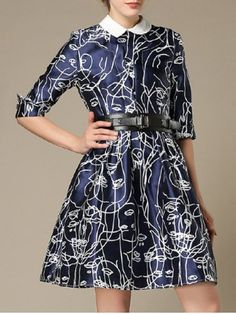 SHARE & Get it FREE | Belted 3/4 Sleeve Printed DressFor Fashion Lovers…