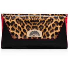 Christian Louboutin Vero-Dodat Clutch ($1,250) ❤ liked on Polyvore featuring bags, handbags, clutches, brown, chain handbags, patent handbags, envelope clutch, brown handbags and pocket purse