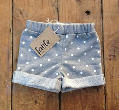 Handmade Unisex Cotton Spot Shorts - Grey & White