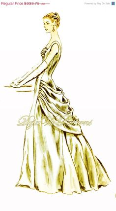 ON SALE Vogue 884 Vintage 1950s Evening or Ball by DejaVuPatterns, $299.00