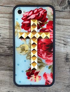 Wildflower Cases presents our Blue Floral Gold Studded Cross iPhone 4 case.