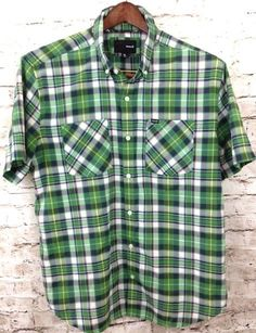 Hurley Mens XL Kelly Green Navy Blue Plaid Shirt Button Front Casual Cotton Poly #Hurley #ButtonFront