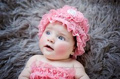 Lace baby hat with rosette flower by IzzysAttic on Etsy, $12.99