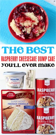 Raspberry Dump Cake Recipes!  This incredibly rich and delicious raspberry cheesecake dump cake is bursting with the flavors of summer!  Go give it a try this weekend, or 4th of July! Crock Pot Desserts, Köstliche Desserts, Delicious Desserts, Dessert Recipes, Easy Raspberry Desserts, Raspberry Recipes, Red Raspberry, Yummy Food, Tasty