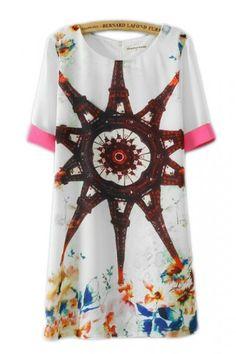 KCLOTH Eiffel Tower Printed Summer Midi Dress in Two Tone Design