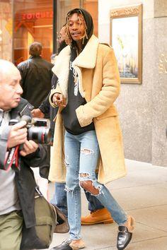 Men's Fashion Flash- Wiz Khalifa's NBC Studios Balmain Fall 2011 Asymmetrical Shearling Long Coat And Gucci Fur Detail Slip On Loafers