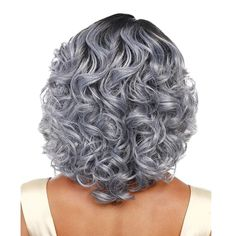 Medium Side Parting Shaggy Curly Colormix Synthetic Wig - Grey Curly Hair, Grey Wig, Silver Grey Hair, Permed Hairstyles, Hairstyles With Bangs, Medium Hair Styles, Curly Hair Styles, Bobbi Boss Wigs, Grey Hair Journey