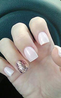 Essie-ballet slippers. Gold glitter accent nail.