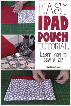 Easy iPad pouch tutorial. Great for a beginner. Learn how to sew a zip. Makes a great gift. Free full step-by-step video and written instructions. Easy beginner sewing project.