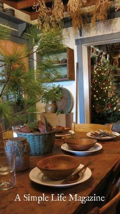 Winter 2016 issue of A Simple Life Magazine - Christmas Table Tops, home of Patsy Martin Primitive Dining Rooms, Primitive Homes, Primitive Kitchen, Primitive Antiques, Primitive Decor, Prim Decor, Country Decor, Farmhouse Decor, Country Farm