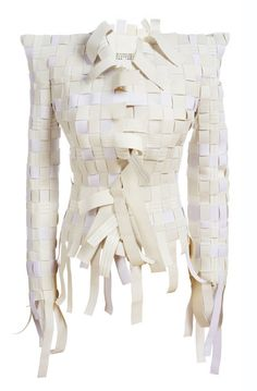 reconstruct -- (old fabric_) Weave - woven textile surfaces; fabric manipulation for fashion design // Maison Martin Margiela Paper Fashion, Fashion Art, Fashion Design, Textiles, Mode Lookbook, Paper Clothes, Paper Dresses, Recycled Fashion, Sculptural Fashion