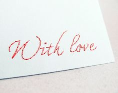 Embroidered greeting card With love