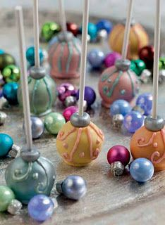 Recipe for Bauble Pops: Baubles are beautiful party decorations for any time of year. Make them sparkle with a little edible luster spray. Makes 20 pops Ingredients  20 medium cake balls, chilled ¼ (14-ounce) bag each green, blue, pink and yellow candy melts 40 grams (2½ tablespoons) white fondant, kneaded 1 can edible silver luster spray  #timelesstreasure