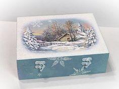 Pentart dekor: Téli doboz jeges-deres hatásokkal