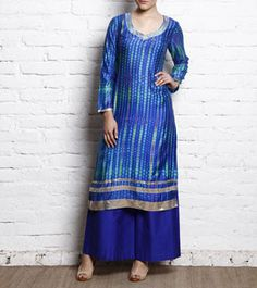 Indigo Tie Dyed Cotton Silk Kurti With Pallazo