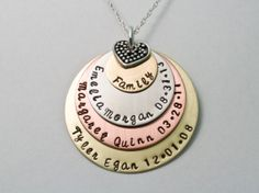 Mothers Necklace Personalized Necklace Hand by KrisTsCreations, $60.00 - Would be cool to have the first disc have wife and husband's name and wedding date, then kid's names on the next two discs.