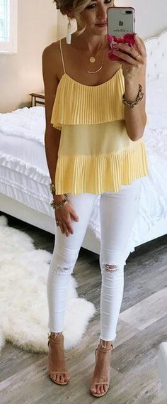#Summer #Outfits / Yellow Sleeveless Top + White Skinny Top